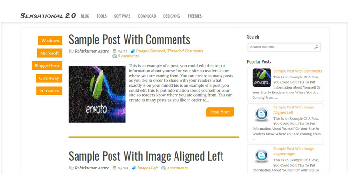 Sensational - Best premium looking blogger templates