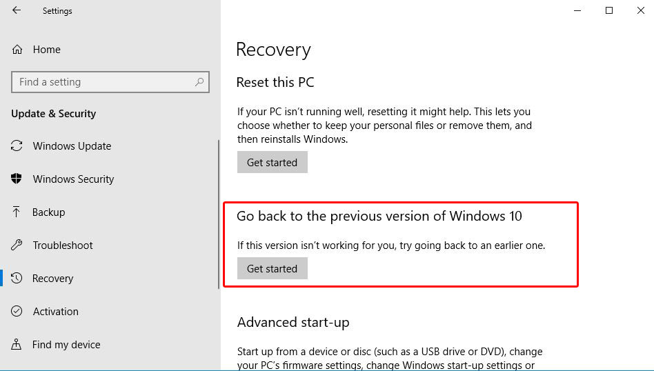 how to go to previous build in windows 10
