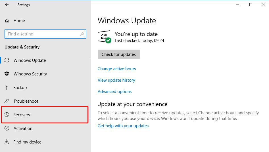 Downgrade Windows 10 1903 to 1809 Process Recovery