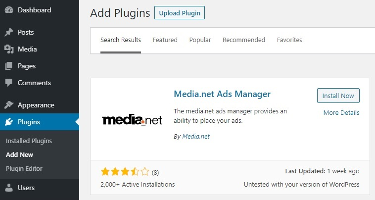 Media.net Ads Manager Plugin